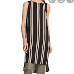 Vince Camuto Black & Green Striped High Low Tunic